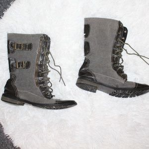 Grunge Grey Women Ankle Boots